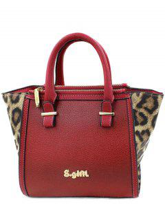 Leopard Print Color Block Tote Bag - Red