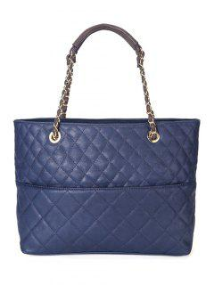 Checked Stitches Chains Tote Bag - Sapphire Blue