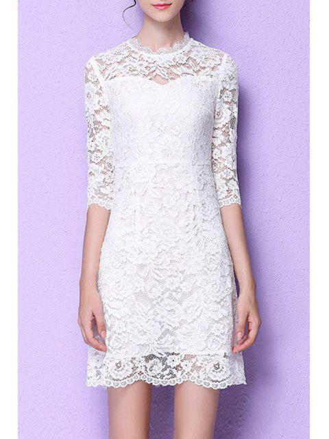 chic Lace Flounce Ruffles A-Line Dress - WHITE M Mobile