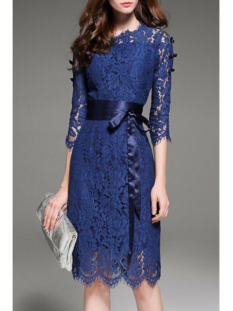 women's Lace Openwork Dress with Belt - DEEP BLUE L Mobile
