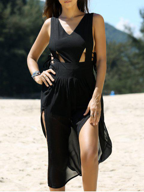 buy Cross Back V Neck Cutout Front Slit Dress - BLACK L Mobile
