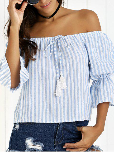 outfits Puff Sleeve Off The Shoulder Fringe Striped Blouse - BLUE S Mobile
