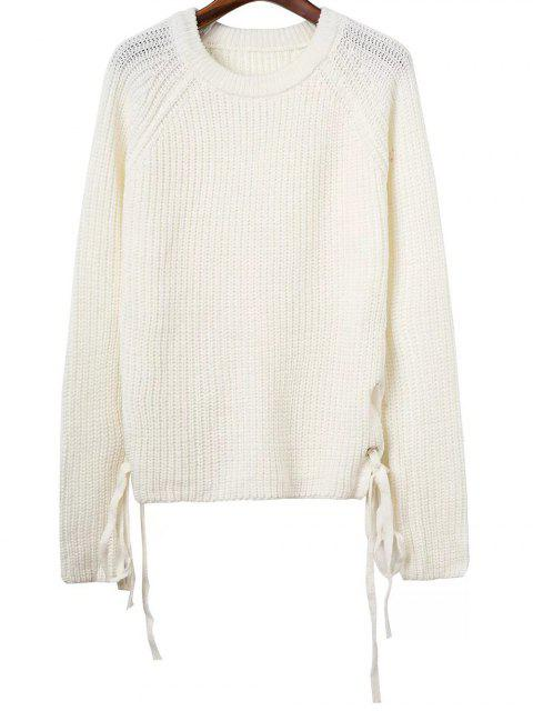 hot Lace Up Round Neck Jumper - WHITE ONE SIZE Mobile