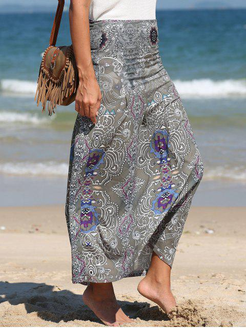 shop Bohemian Printed Long Skirt - GREEN XL Mobile