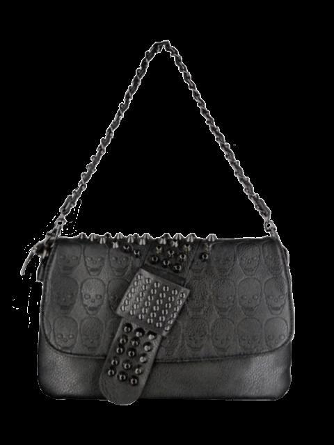 hot Black Metal Rivets Chain Shoulder Bag -   Mobile