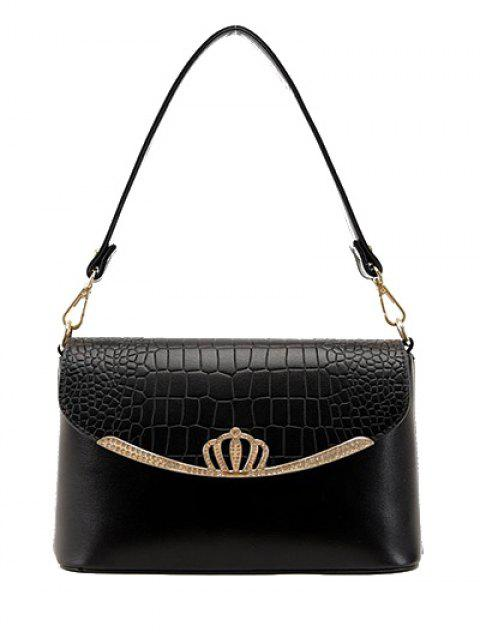 Crocodile Print Crown Metal Shoulder Bag - Noir  Mobile