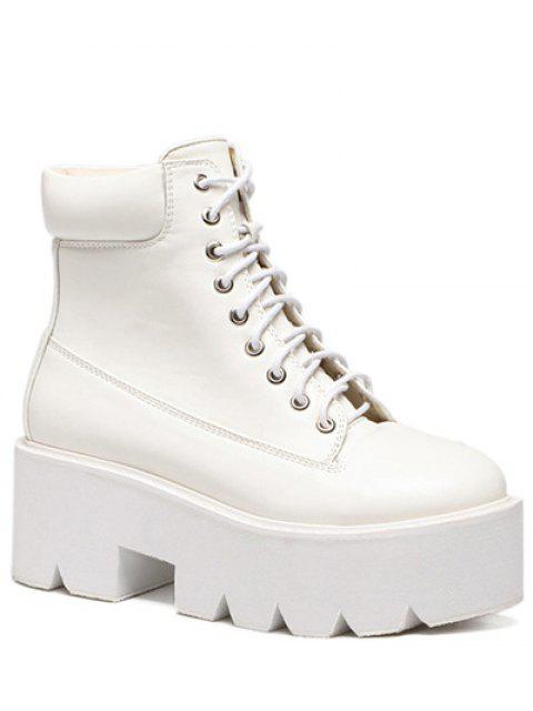 Plate-forme Tie Up bout rond Bottes - Blanc 39 Mobile