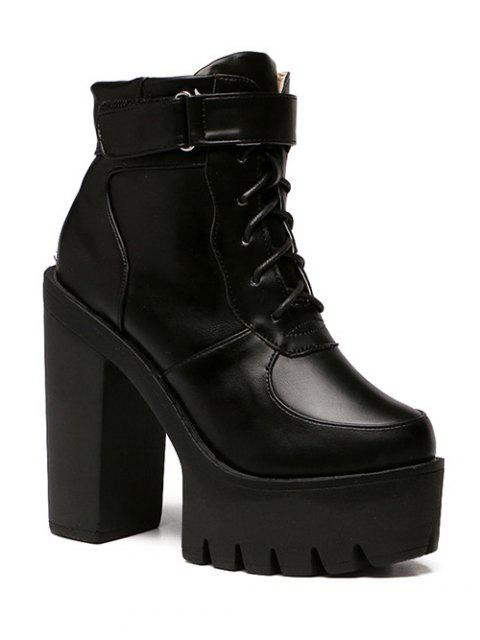 women Chunky Heel Lace-Up Platform Short Boots - BLACK 38 Mobile