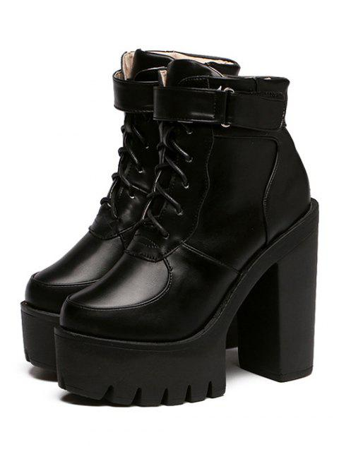 buy Chunky Heel Lace-Up Platform Short Boots - BLACK 39 Mobile