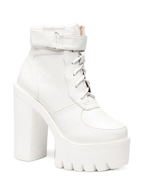 ladies Chunky Heel Lace-Up Platform Short Boots - WHITE 37 Mobile