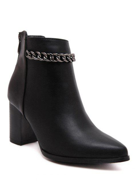 ladies Black Chain Pointed Toe Short Boots -   Mobile