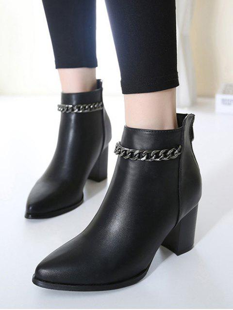 lady Black Chain Pointed Toe Short Boots -   Mobile
