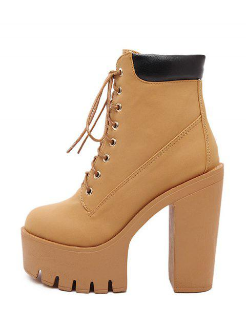 hot Chunky Heel Tie Up Platform Short Boots - LIGHT BROWN 38 Mobile