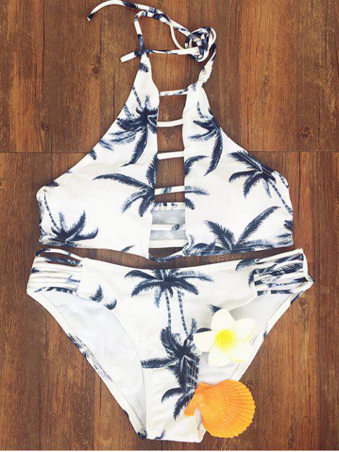 new Coconut Palm Printed Halter Bikini Set - COLORMIX M Mobile