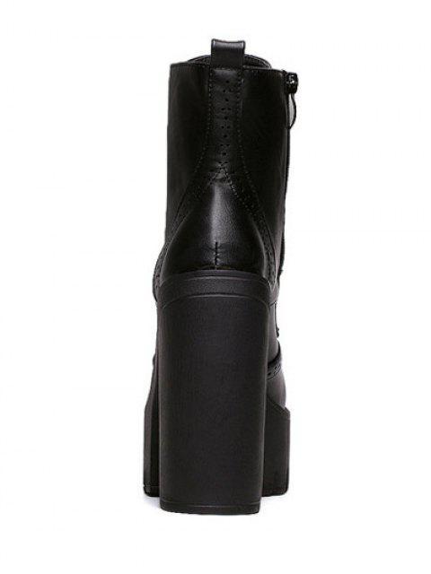 latest Zipper Black Lace-Up Short Boots - BLACK 37 Mobile