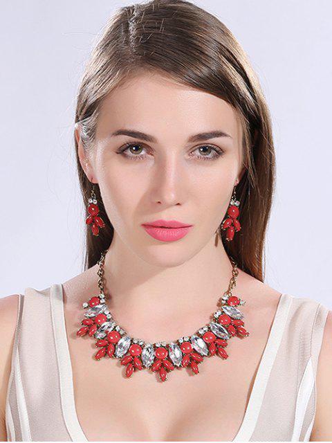 Collar de la resina sintética y cristal Pendientes - Rojo  Mobile