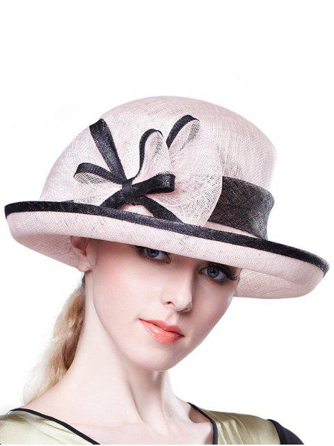 lady Bowknot Linen Bowler Hat - PINK  Mobile
