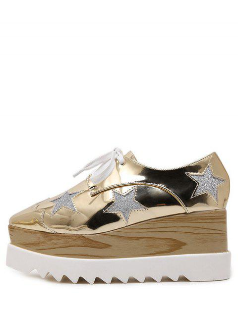 ladies Square Toe Star Pattern Sequined Wedge Shoes -   Mobile