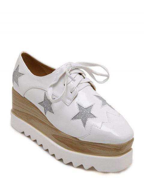 hot Square Toe Star Pattern Sequined Wedge Shoes - WHITE 38 Mobile