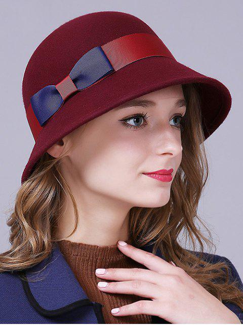 outfit Bowknot Wool Bucket Hat - CLARET  Mobile
