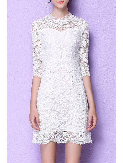 Lace Flounce Ruffles A-Line Dress - White Xl