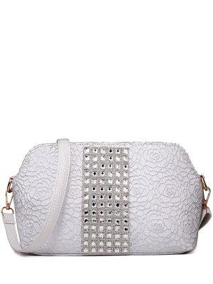 Lace Rhinestones Embossing Shoulder Bag