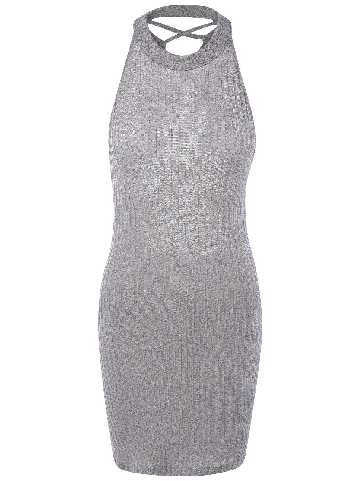 Hollow Out Ribbed Bodycon Bandage Mini Dress 191297401