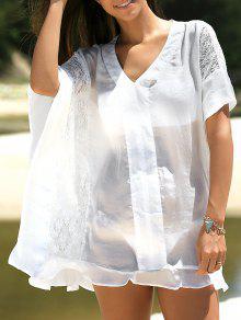 Vestido De Cambio De Empalme V Cuello De La Media Manga Del Cordón - Blanco M