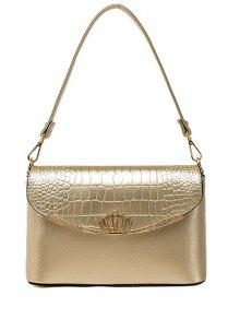 Crocodile Print Crown Metal Shoulder Bag - Golden