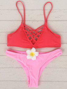 Rojo Y Rosa Cami Set Bikini - Rojo+rosa S