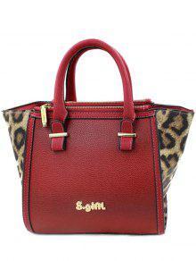 Leopard Print Color Block Tote Bag - Red