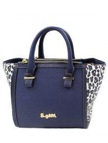 Buy Leopard Print Color Block Tote Bag - BLUE