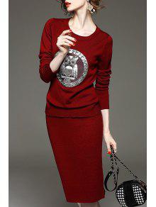 البومة الرسم سترة و متماسكة تنورة - نبيذ أحمر M