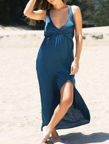 High Slit Solid Color Plunging Neck Maxi Dress - Blue S