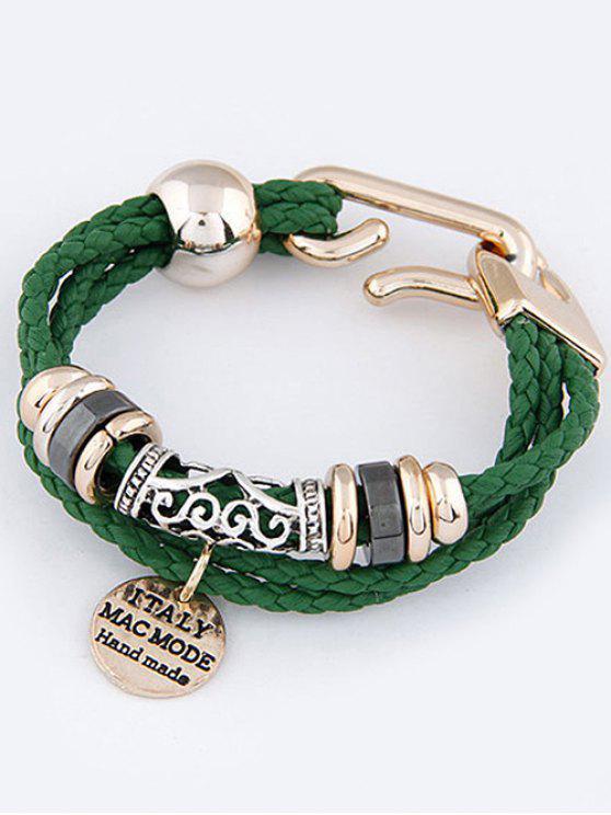Capas pulsera trenzada disco - Verde