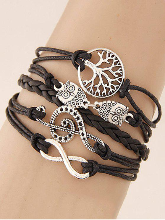 women's Tree of Life Owl Braided Bracelet - BLACK