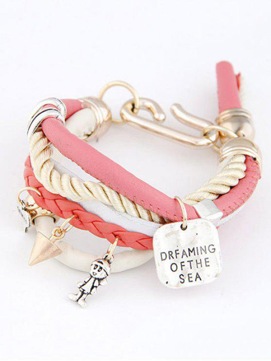 hot Faux Leather Engraved Braided Bracelet - PINK