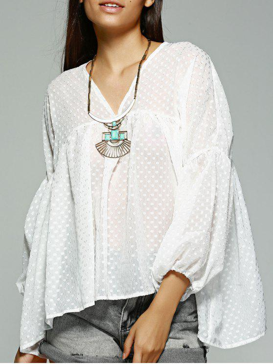 ladies Polka Dot White Long Sleeve Blouse - WHITE M