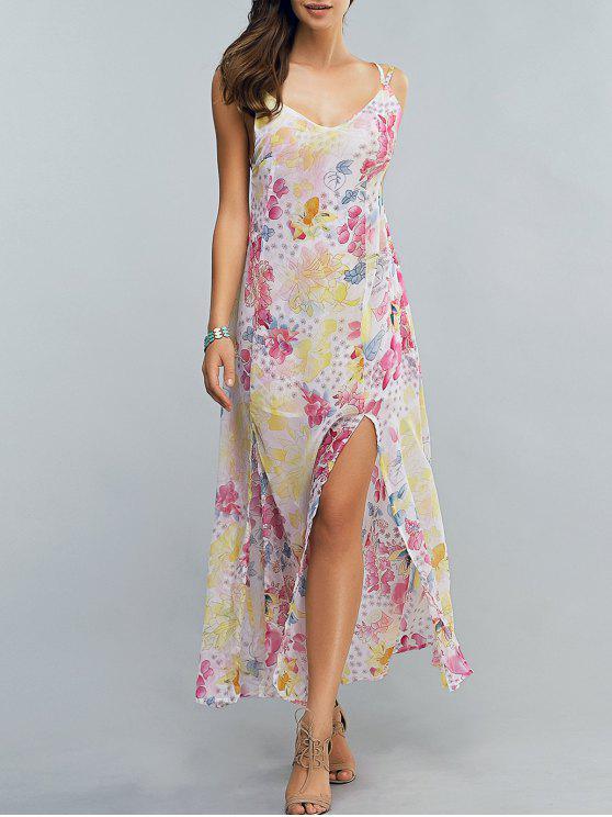 عالية الشق السباغيتي الشريط طباعة الزهور فستان ماكسي - الأزهار M