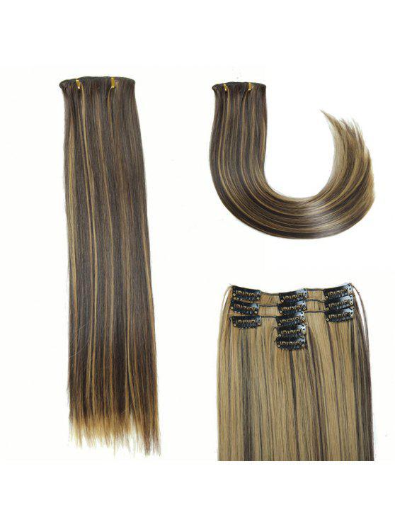 لامعة طويل مستقيم كليب في الاصطناعية الشعر التمديد للنساء - Colormix