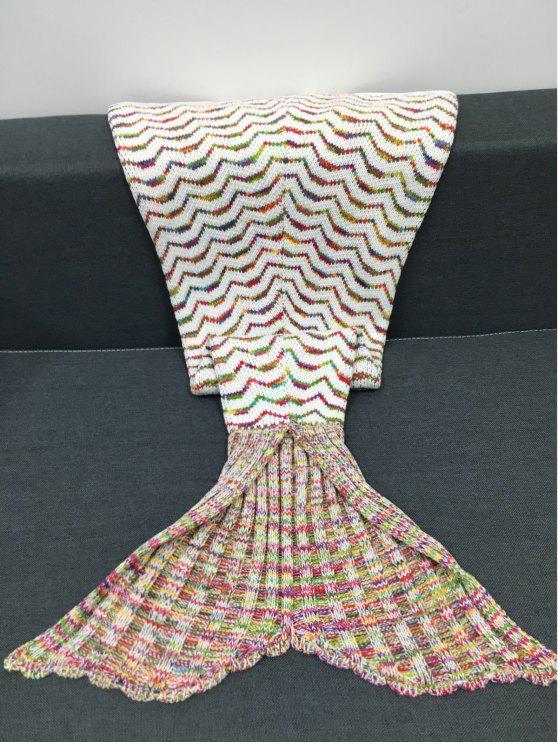 الأزياء الملونة المنحنيات نمط الحياكة حورية البحر شكل بطانية - Colormix