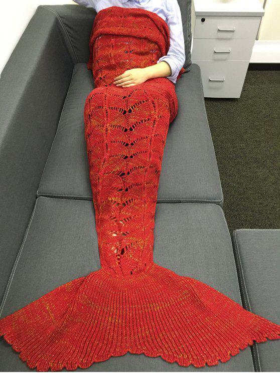شيك الجودة الحياكة الجوف خارج تصميم حورية البحر شكل بطانية - أحمر