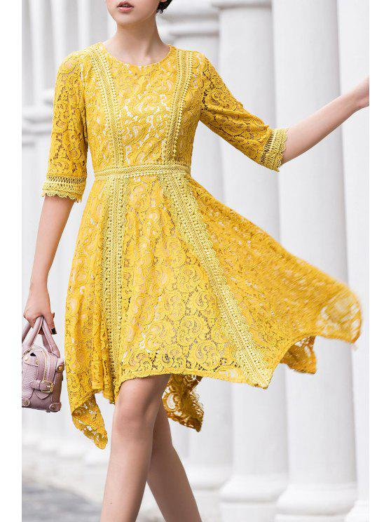 online Round Neck Irregular Hem Lace Skater Dress - YELLOW XL