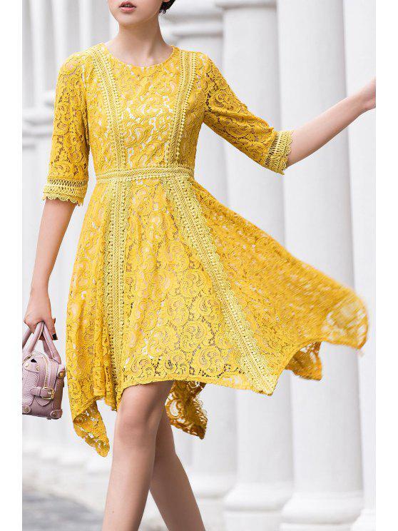 shops Round Neck Irregular Hem Lace Skater Dress - YELLOW S