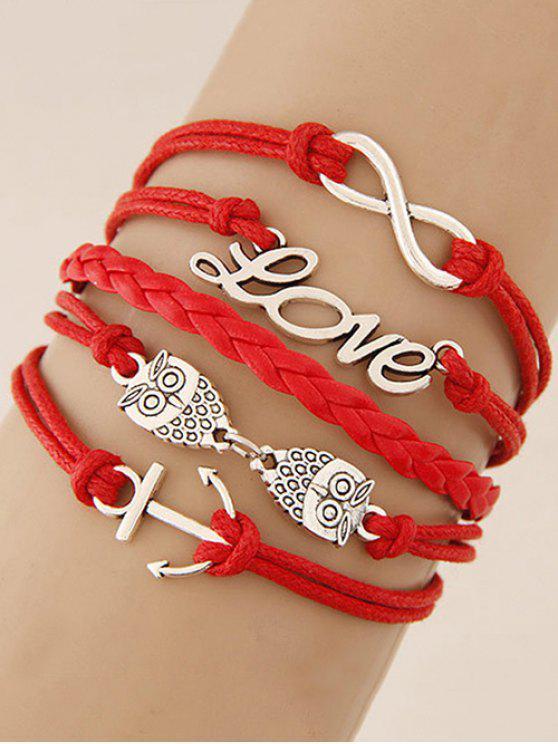 Trendy Owl Infinity Anchor Strand Bracelet Red