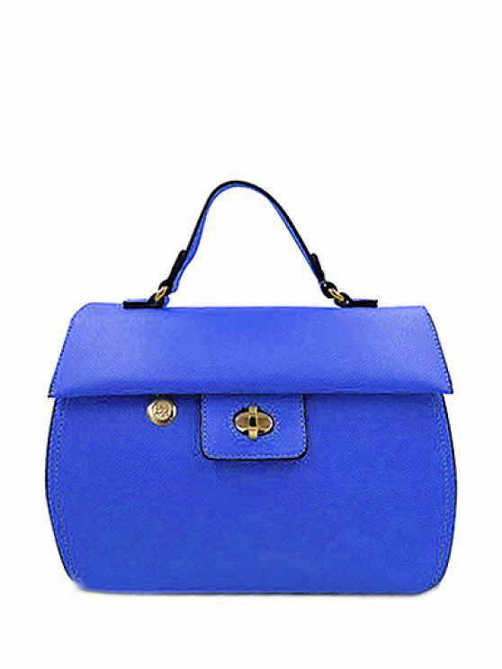 latest PU Leather Metal Hasp Tote Bag - BLUE