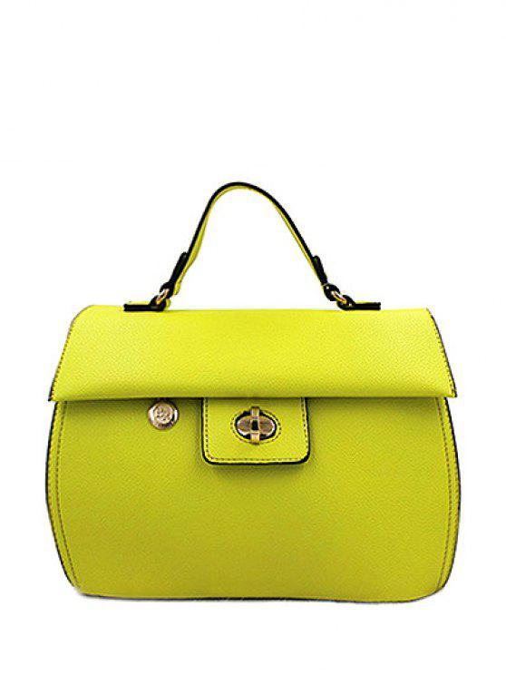 fashion PU Leather Metal Hasp Tote Bag - YELLOW