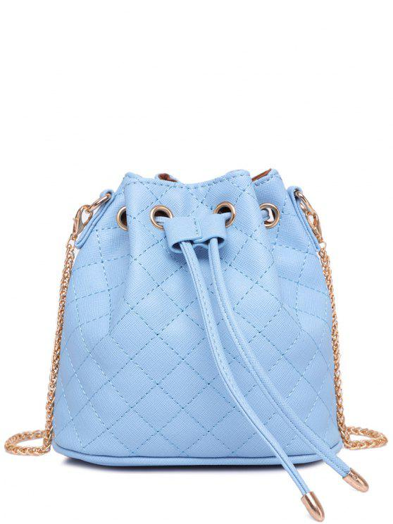 latest Checked Stitches Chains Crossbody Bag - LIGHT BLUE