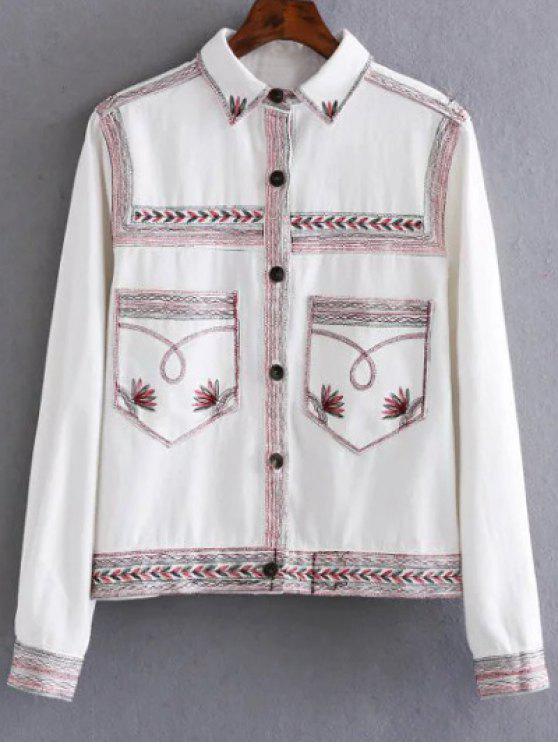 شقة طوق المطرزة معطف الدنيم - أبيض S