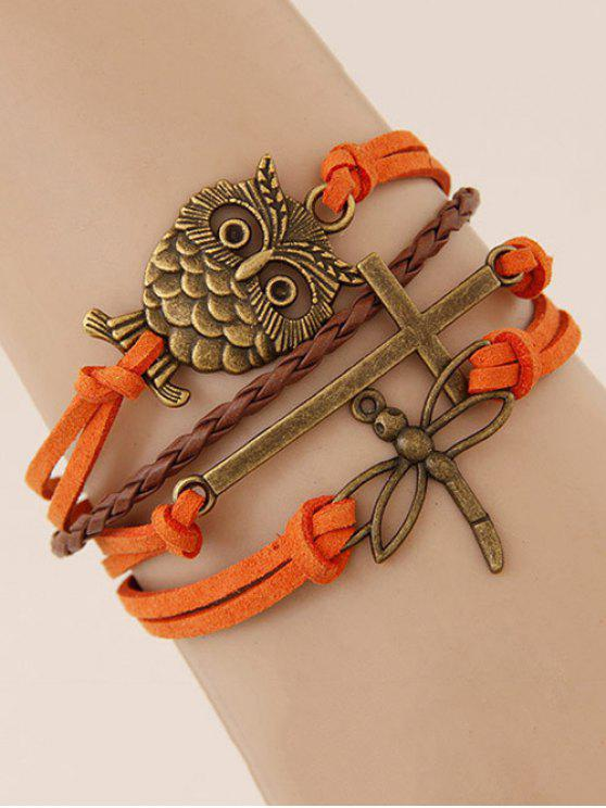 Bracelet en crochet avec décoration en forme d'hibou et de libellule - Tangerine